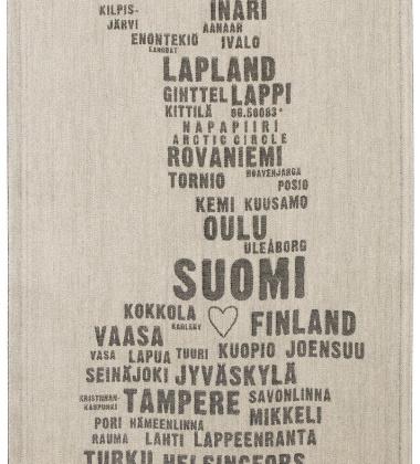 Ścierka kuchenna My Finland 46x70 Lniano-Czarna