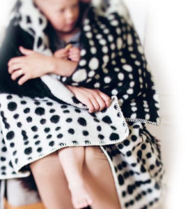 Koc Taivaanvalkeat Wool 130x180 Czarno-Biały
