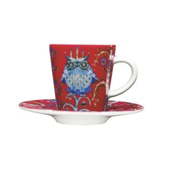 Filiżanka do Espresso z podstawkiem Taika Set 0,1L Czerwona