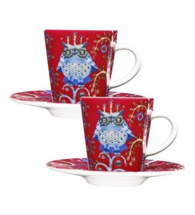 Filiżanki do Espresso z podstawkiem Taika Set 2 0,1L Czerwone
