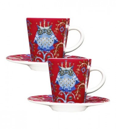 Taika Espresso Cup and Saucer Set 2 0,1L Red