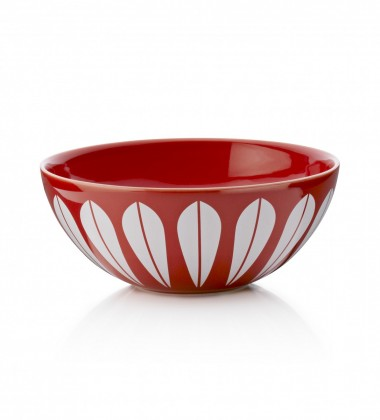 Lotus Bowl 24 cm Red with White Lotus