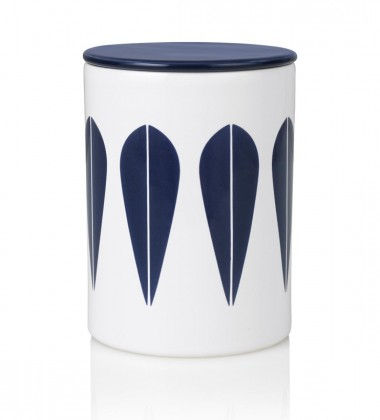 Lotus Canister H16 cm White with Dark Blue Lotus