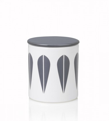 Lotus Canister H11 cm White with Grey Lotus