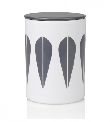 Lotus Canister H16 cm White with Grey Lotus