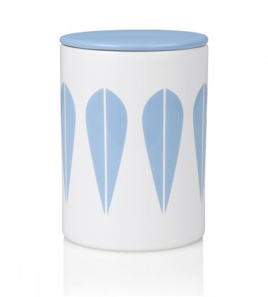 Lotus Canister H16 cm White with Light Blue Lotus