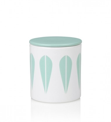 Lotus Canister H11 cm White with Mint Green Lotus