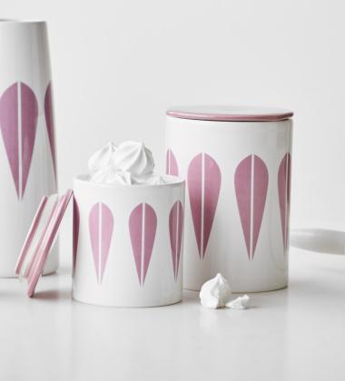 Pojemnik z porcelany Lotus H11 cm Biało-Różowy