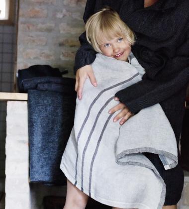 Ręcznik lniany USVA 70x130 Szaro-Grafitowy