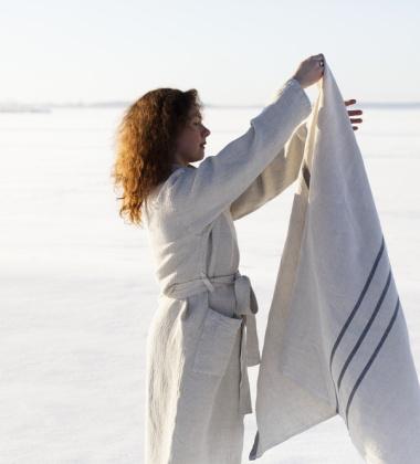 Ręcznik lniany USVA 95x180 Szaro-Grafitowy