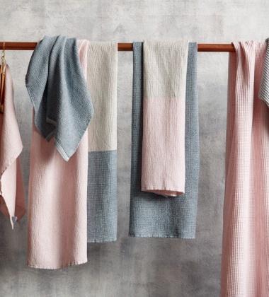 Ręcznik kąpielowy Terva 65x130 Biało-Multi-Różowy