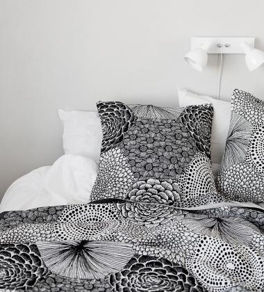Poszewka na poduszkę RUUT 50x50 Biało-Czarna