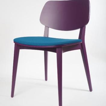 Krzesło tapicerowane Doll Wood 551 Fioletowo-Turkusowe