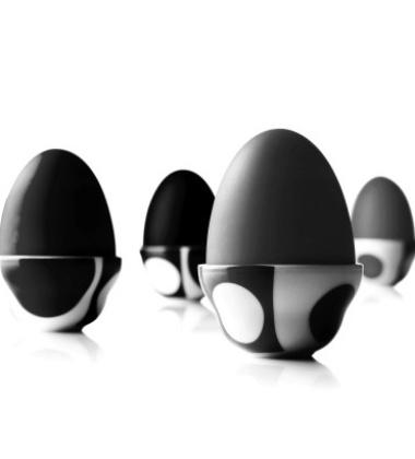 Kieliszki do jajek  Verner Panton Set of 4 Czarno-Białe