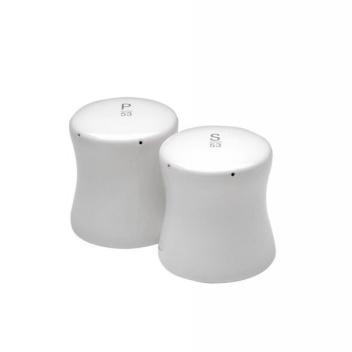 Solniczka i pieprzniczka Bollard z białej porcelany