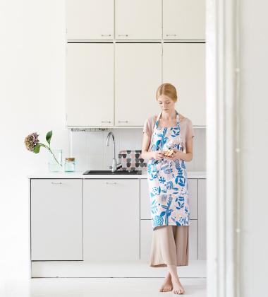 Fartuszek kuchenny Potpourri 90x85 Niebiesko-Różowy