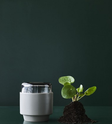 Doniczka ceramiczno-szklana GRO H12,5x13 Beżowa