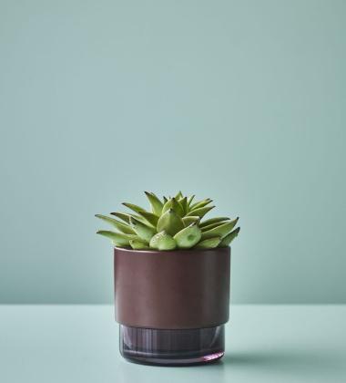 Doniczka ceramiczno-szklana GRO H12,5x13 Bordowa