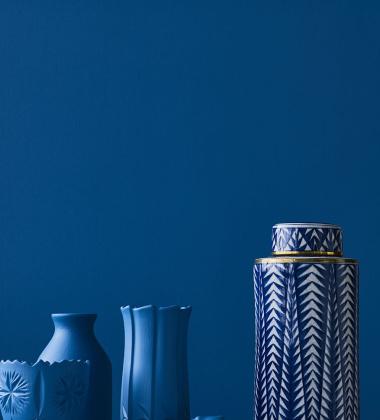 Wazon-Waza z pokrywą MATEE Triangle H30 cm Niebieska