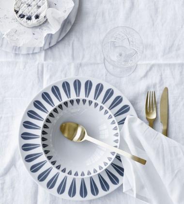 Talerz głęboki z porcelany Lotus 18 cm Biało-Granatowy