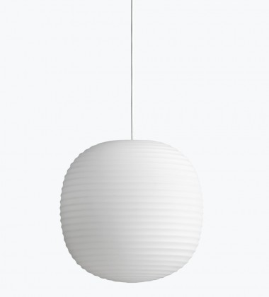 Lanternt Pendant Lamp 30 cm Frosted White Opal Glass