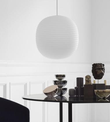 Lampa wisząca LANTERN 40 cm Białe Szronione Szkło