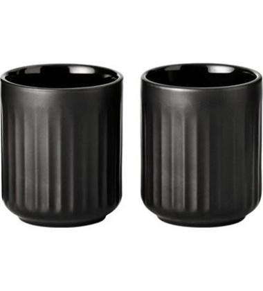 Kubki Thermo Espresso z porcelany Lyngby 8 cl Set 2 Czarne
