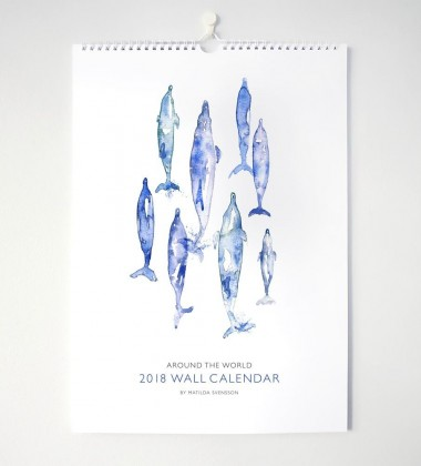Kalendarz ścienny akwarela Around The World A3 Wieloryby