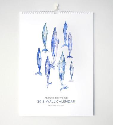 Kalendarz ścienny Around The World A3 Wieloryby