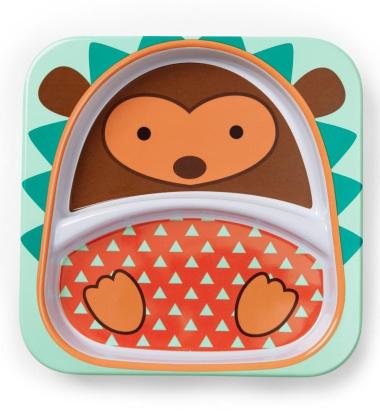 Talerzyk dziecięcy z melaminy Zoo 21x21 cm Jeżyk