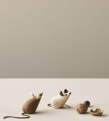 Drewniane myszki MICE 5,5 cm Set 2 Klon i Dąb Palony