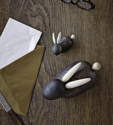 Drewniany królik RABBIT 9 cm Dąb Palony