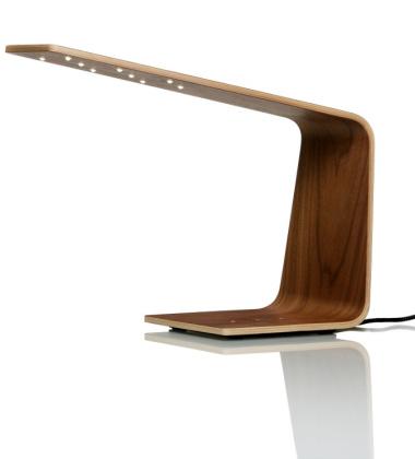 Drewniana lampa stołowa LED 1 Orzech Amerykańki