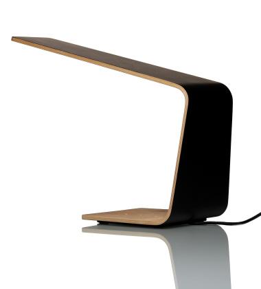 Drewniana lampa stołowa LED 1 Czarna-Orzech Amerykańki