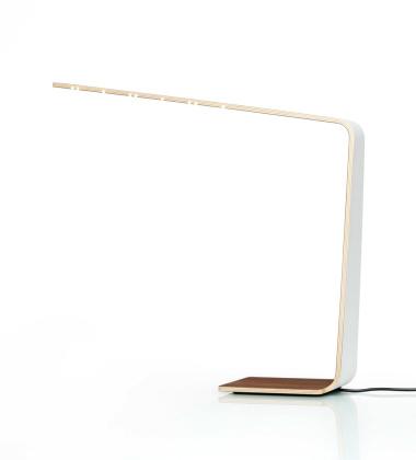 Drewniana lampa stołowa LED 4 Biała-Brzoza Naturalna