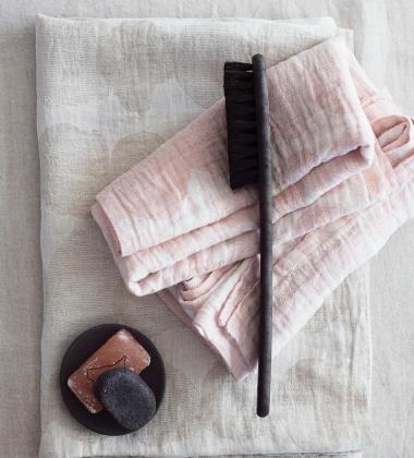 Ręcznik lniany SADE 95x180 Biało-Beżowy