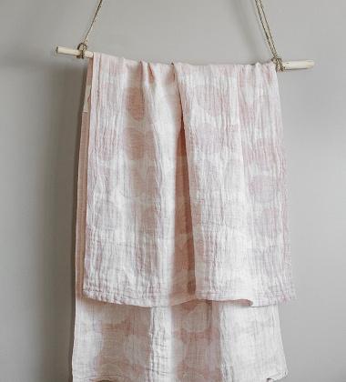 Ręcznik lniany kąpielowy SADE 95x180 Biało-Różowy