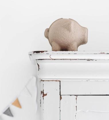Skarbonka z pulpy papierowej Świnka TAMMY Szara