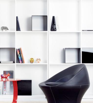 Fotel ze skóry SPIRA 80x80x80 Czarno-Czerwony