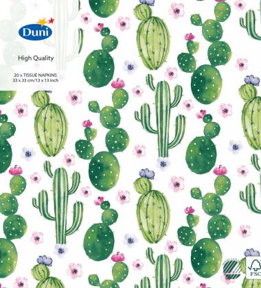 Serwetki papierowe w kaktusy 33x33 Floral Cactus