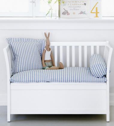 Ławeczka ze skrzynią i poduszkami KIDS BENCH STORAGE Biało-Niebieska