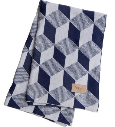 Koc bawełniany SQUARES Blanket 120x150 Niebieski