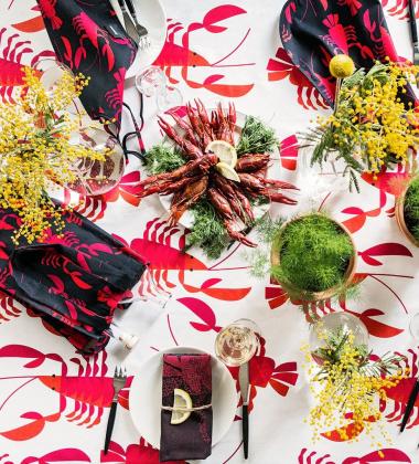 Obrus w kraby RAPSAKKA 145x250 Biało-Czerwony