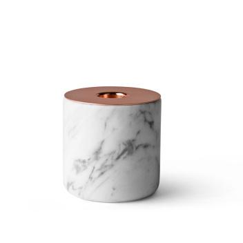 Świecznik Large Chunk Biały Marmur i Miedź