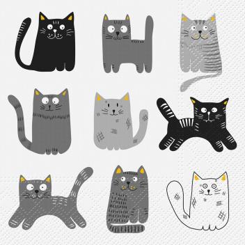 Serwetki papierowe w kotki 33x33 TAT Nine Cats