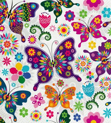Serwetki papierowe w motyle 33x33 TAT Colourful Butterflies
