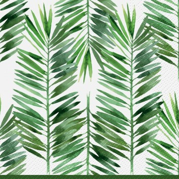 Serwetki papierowe w liście 33x33 TAT Feuilles de Palme Bord Vert