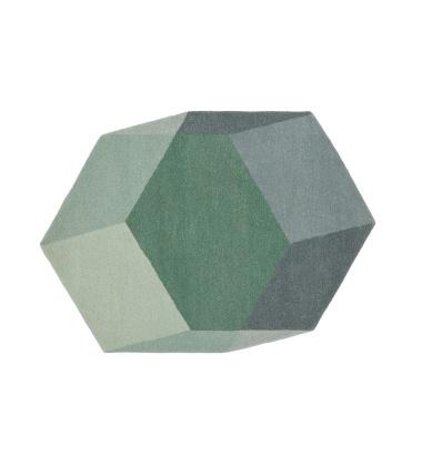 Dywan wełniany ISO HEXAGON 200x142 Zielono-Szary