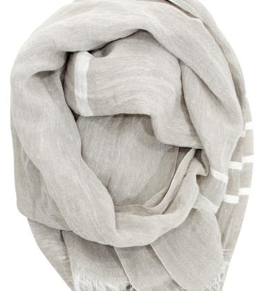 Lniany szal USVA 70x200 Lniano-Biały