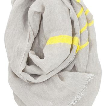 Lniany szal USVA 70x200 Lniano-Żółty